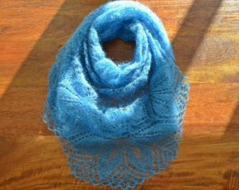 Turquoise-blue knitted shawl