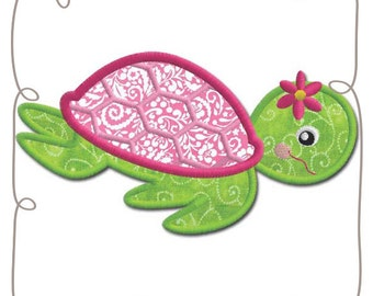 Turtle Applique Machine Embroidery Design Pattern-INSTANT DOWNLOAD