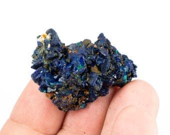 Bright Blue Azurite with Green Malachite Mineral Specimen