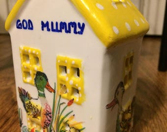 Handmade Cath Kidston Personalised Cath Duck yellow roof ceramic tealight house