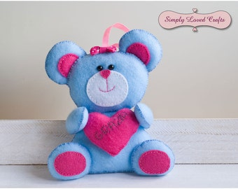 Felt Teddy Bear with Heart Personalised Perfect Gift, Choose Your Colours