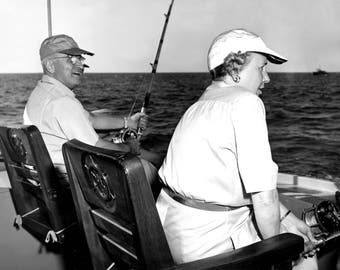 "1947 President Harry & Bess Truman Fishing Vintage Photograph 8.5"" x 11"" Reprint"