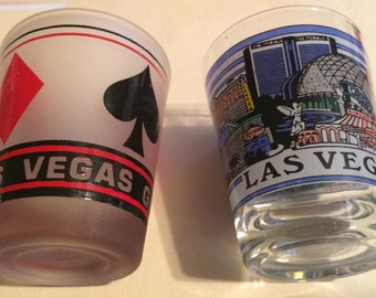 Set of 2 Vintage Las Vegas shot glasses