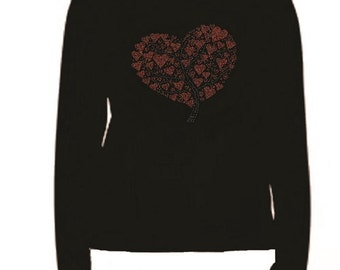 Rhinestone Heart Tree Long Sleeve T Shirt                                                   L-R XX8V
