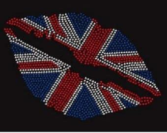 Rhinestone British Lips  Lightweight T-Shirt or DIY Iron On Transfer                               RGN0