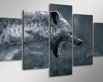 Hyena Hunting Wild Animal Digital Art Gallery Wrap Multi Panel Ready To Hang Canvas Print Giclée