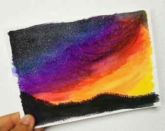 SET OF 2 - Galaxy Sunset City Lights Watercolor Handmade Notecards