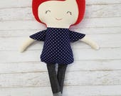 Handmade doll, girl doll, polka dots, jeans, embroidered