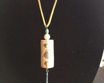 Wine Cork and Turqouise Bead Necklace, 18 inch