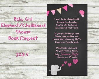 Baby Girl Elephant/Chalkboard Baby Shower Book Request