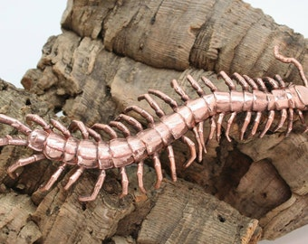 """6"""" Copper Electroformed Vietnamese Red Centipede(Scolopendra subspinipes)"""