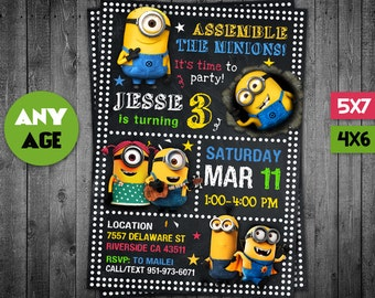 Minion Invitation, Minion, Minion Party, Minion Invite, Minion Birthday Party, Minion Birthday, Minion Card, Minion Printable