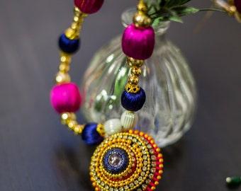 Colorful Silk thread Necklace Turkish Pink Violet Blue Jewel Pendant