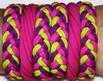 Bracelets Fucsia Purple and Yellow, lycra, 100% Handmade