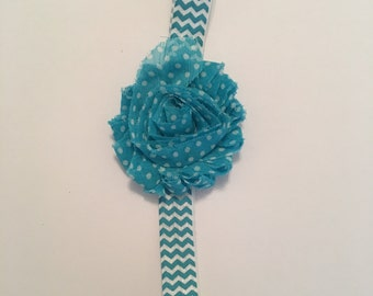 A sweet turquoise blue and white headband