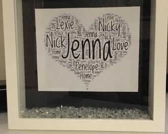 Heart, word art, personalised frame