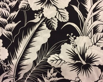 Tropical Fabric Black White Flowers Cotton By The Yard 36 Inches Long.