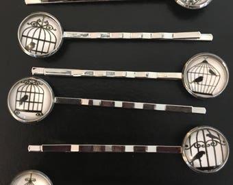 Birdcage Bobby Pin Set, Silver Pin Set, Hair Pin, Black and White Photo,