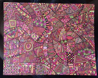 11x14 Warm Colored Zentangle Doodle Drawing