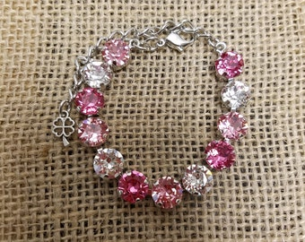 "Swarovski Crystal 8.5mm Tennis Bracelet-""Pretty In Pink""- Designer Inspired-Dressy or Casual-Prom Jewelry"