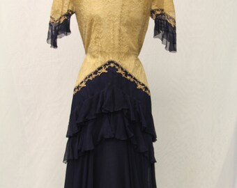1920's Ecru and Navy Blue dress with Ruffle Skirt and Lace body