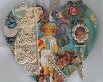 Heart   Framed      Mixed media on wood.