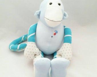 Keepsake monkey, memory keepsake animal, baby keepsake, keepsake animal, stuffed monkey, plush monkey, monkey teddy, made from baby clothes