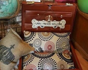 Reburbised Vintage Suitcase Pet bed