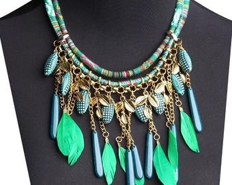 Bohemian Statement Necklace, Tribal Boho Necklace, Fringe Necklace, Gift for Her, Gifts Under