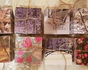 Handmade Set of four beautifully designed tile coasters