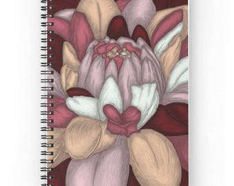 Spiral notebook for journal sketch zentangle - Burgundy flower pattern