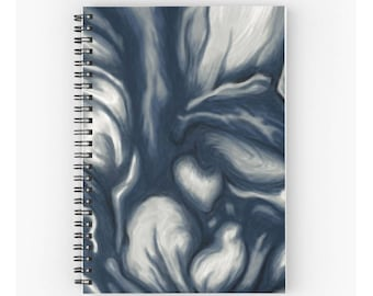 Blue spiral notebook for journal sketch zentangle - abstract painting