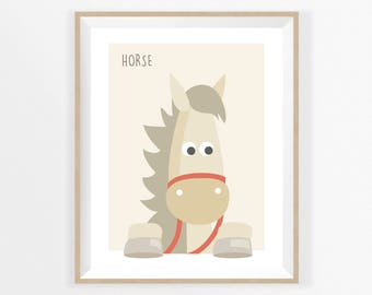 HORSE for BABY PRINT, Woodland for Baby, Animals for Children Nursery Kids, Horse illustration, Wall Art Decor Baby Room Poster, Baby Gift