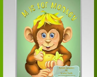 Printable Digital Graphic Download / M is for Monkey