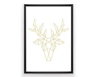 Printable Art, Geometric Animal, Dear Print, Art Printable, Dear Art, Dear Wall Art, Geometric Prints, Geometric Dear, Modern Decor, Gold