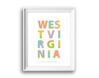 West Virginia,United States of America,State West Virginia,West Virginia print,Printable,Instant Download,50 States USA,Wall art