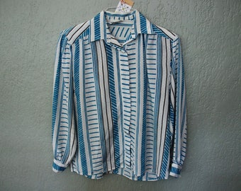 Vintage Blue Striped Long Sleeve Blouse *Flat Rate Shipping* [Cute Top Shirt Blouse Women's Size 14 Large] IMPERFECT: Missing top button