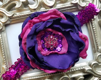 Baby Girl Headband, Purple and Fushia Vintage Flower Girls Headband, Girls Birthday Headband, Couture Headband, Purple Headband
