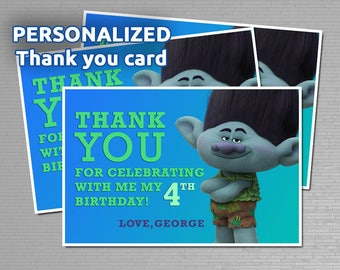 Trolls Thank You Card / Personalized / Ready to print / Trolls Movie
