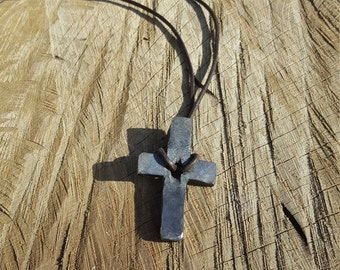 Hand forged Split cross pendant