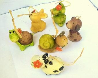 Lot 36 ceramic animals with raffia Ribbon wedding favors/decorations to hang