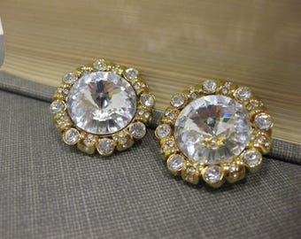 Fabulous St. John Sparkling Gold-Tone and Rhinestone Clip-On Earrings