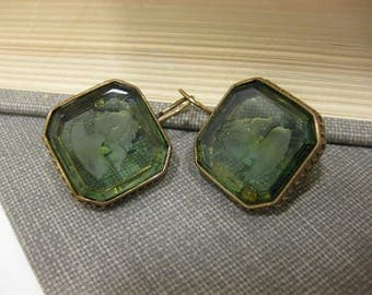 Pair of Vintage Green Etched Glass French Hook Earrings