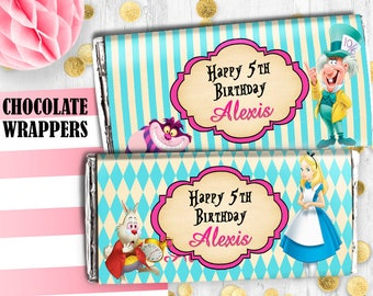 Alice Chocolate wrappers Alice in Wonderland birthday digital printable wrappers