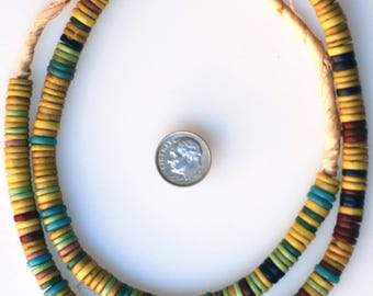24 Inch Strand of 9mm Old Bohemian Disc Beads - Vintage African Trade Beads - #FL202
