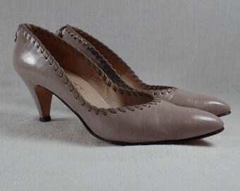 Vintage Mauve Leather Shoes Size 8AA Pumps Heels Johansen Norene Weave Trim Womens