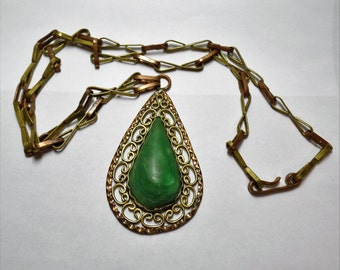 Large Necklace Green Turquoise Tear Drop Pendant Copper Brass Chain Made in Mexico