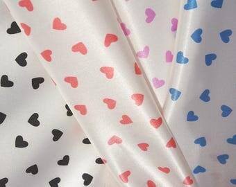 Coloured Hearts Ivory Satin