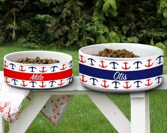 Customized Pet Bowl Dog Bowl Cat Bowl Ceramic Pet Bowl Personalized Animal Lover Custom Name Pet Supplies Nautical Pet Bowl