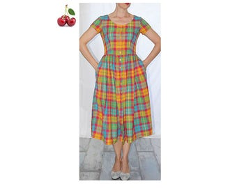 Dress Plaid vintage 90 s peasant dress printed Plaid dress-shirt noon high waist with romantic chic dress-shirt pockets